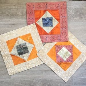 """Set of 3 Silk pillowcases from India 15.5"""" NEW"""